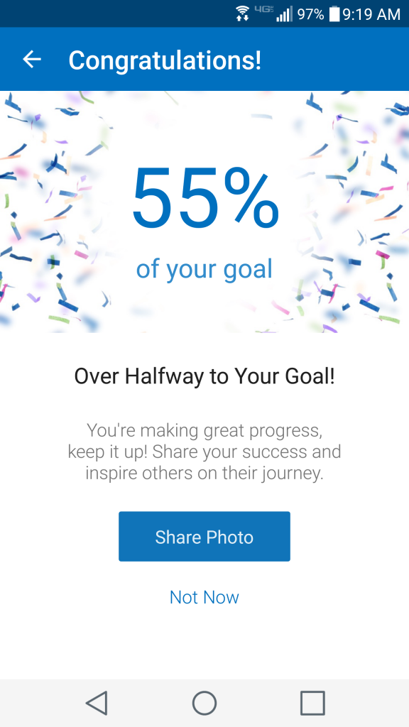 My Fitness Pal celebrates the little wins along the way.