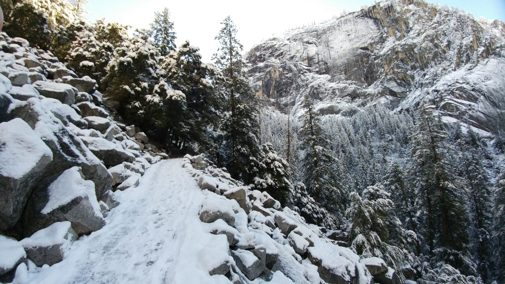 This was our view hiking the Vernal Fall Bridge trail. Snow blew in overnight and we were greeted by this magnificent scene the next morning.